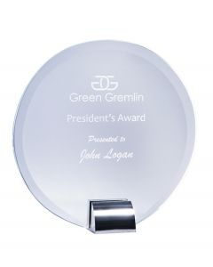Aspire Round Clear Glass Plaque Award