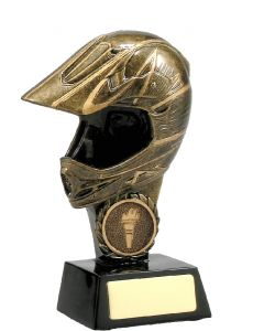Motorsport Bike Helmet Gold Trophy