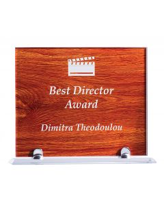 Jarrah Rectangle Wood Glass Plaque Award